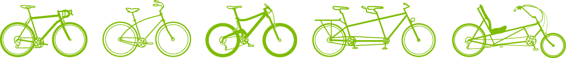 Various types of communter bicycles